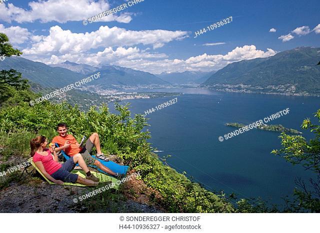 View, Lago Maggiore, Brissago, islands, isles, Maggiadelta, canton, TI, Ticino, South Switzerland, lake, body of water, water, footpath, Locarno, Ascona