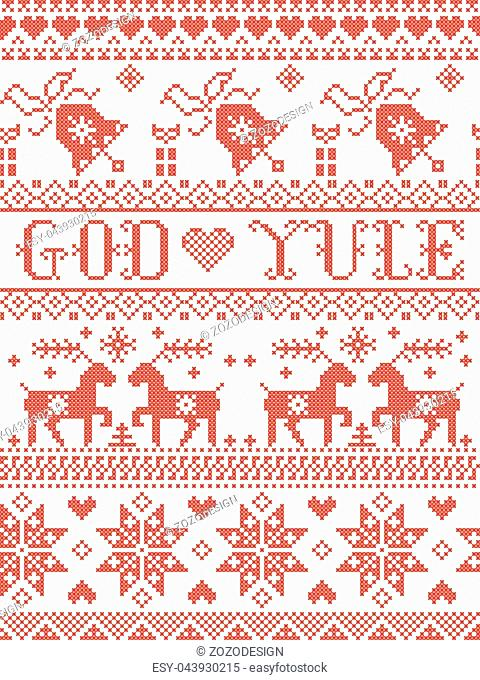 Christmas pattern Merry Christmas in Norwegian God Yule vector seamless pattern inspired by Nordic culture festive winter in cross stitch with heart, snowflake
