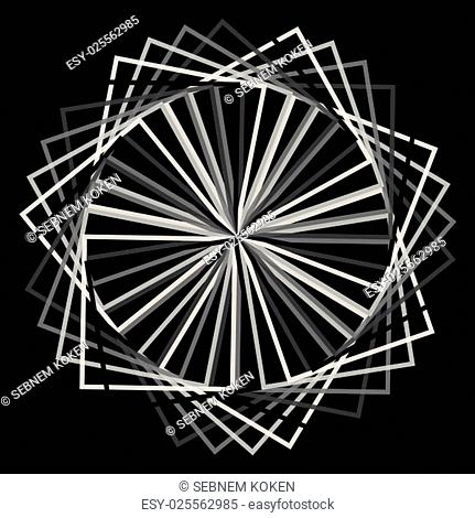 Abstract spirograph concentric circle pattern intersecting shapes on black background