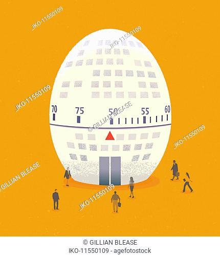 Business people approaching egg shaped office block with age dial