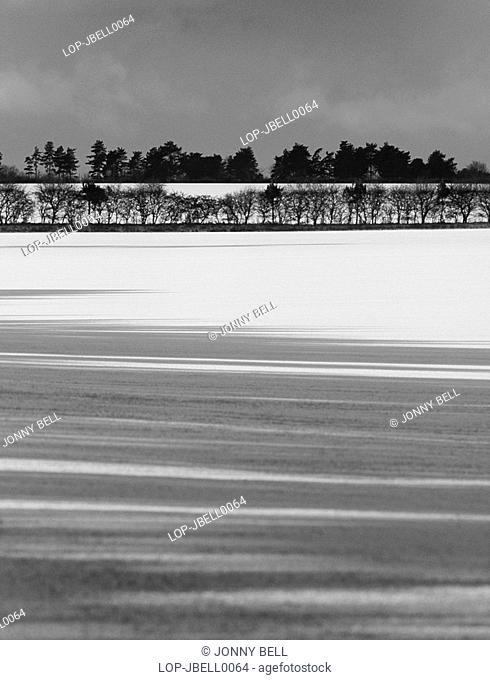 England, Suffolk, Sutton Hoo, Snow scene
