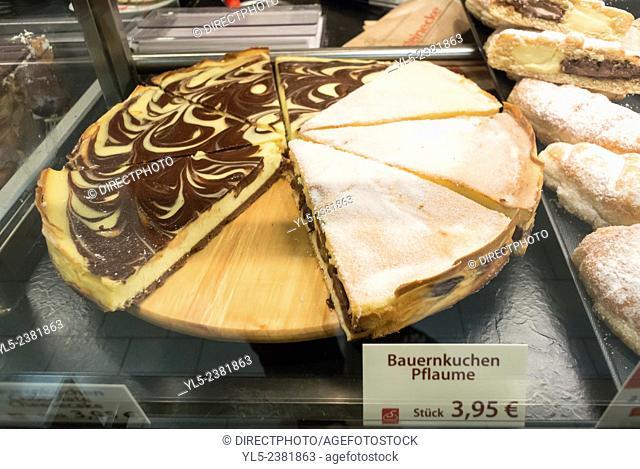Berlin, Germany, German Bakery Shop, Detail, Baked Food, Cheese Cake, on Display