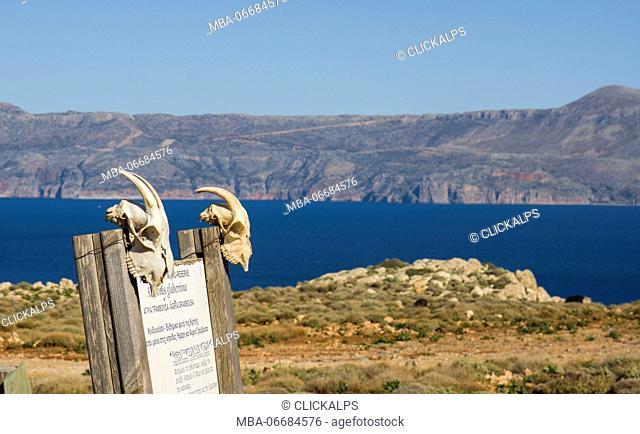Balos beach reserve information board, Crete, Greece, Mediterranean sea