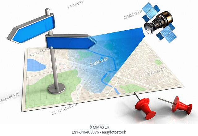 3d illustration of bright map with index and satellite