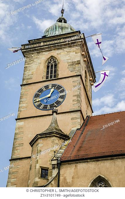The bell tower of the Evangelical Church in Nurtingen, Southern Germany