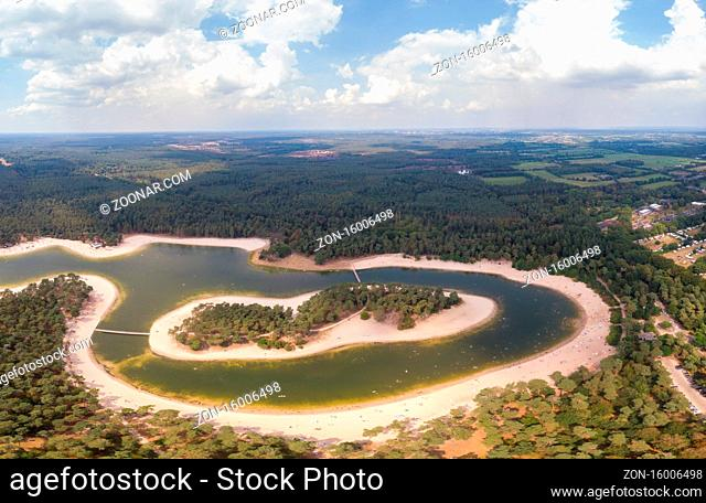 A lake situated in the Netherlands, Utrecht, called Henschotermeer. by drone aerial utrechtse heuvelrug, henschotermeer, lake in holland. Europe