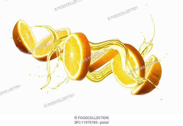 Oranges with a splash of oil
