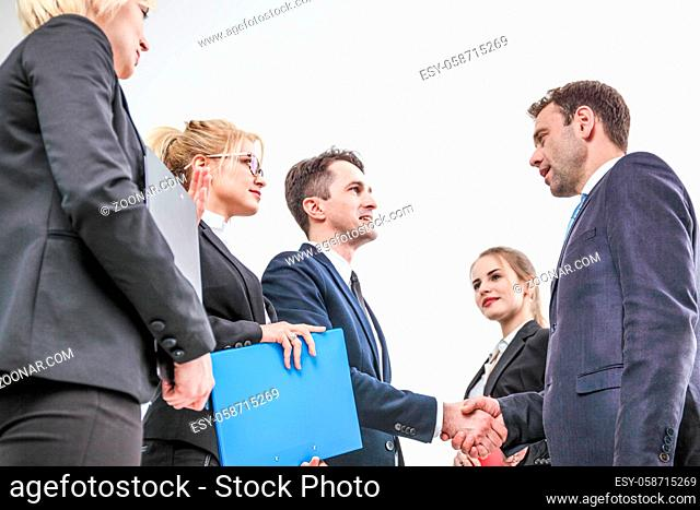 Handshake of business people team on white background