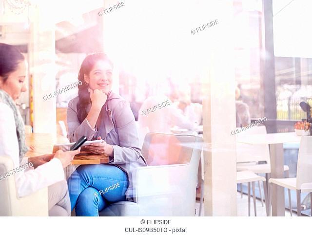 Businesswomen having working lunch in restaurant