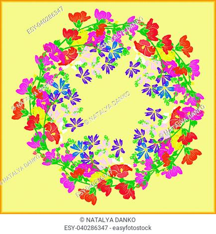 wreath of flowering branches with pink, red and yellow buds of mallow and blue small flowers on a yellow background, empty space