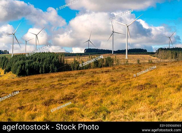 Wind turbines on a field near Blaenrhondda in Rhondda Cynon Taf, Mid Glamorgan, Wales, UK