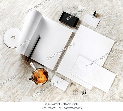 Blank template for design presentations and portfolios. Photo of blank stationery set on wooden background