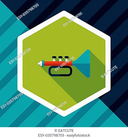 trumpet or horn flat icon with long shadow, eps10