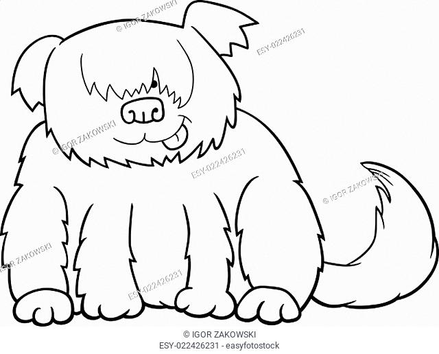Sheepdog cartoon illustration for coloring