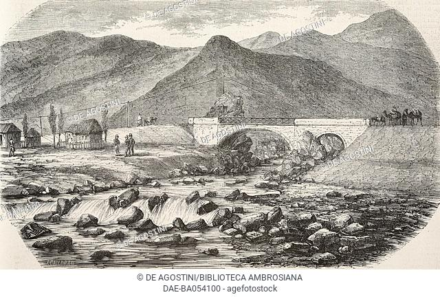 Bridge at the confluence of Oued-Djer, road from Blida to Medea, Algeria, illustration by Jules Gaildrau from L'Illustration, Journal Universel, No 716