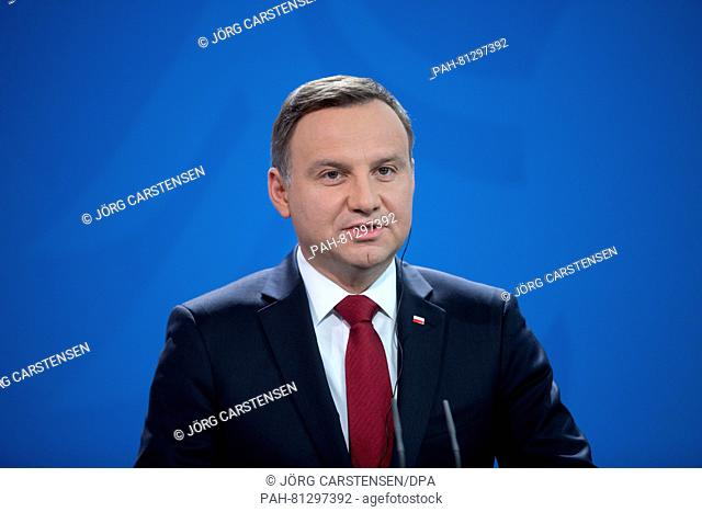 Polish president Andrzej Duda speaks at a press conference on the occasion of the 25th anniversary of the German-Polish Treaty of Good Neighbourship in Berlin