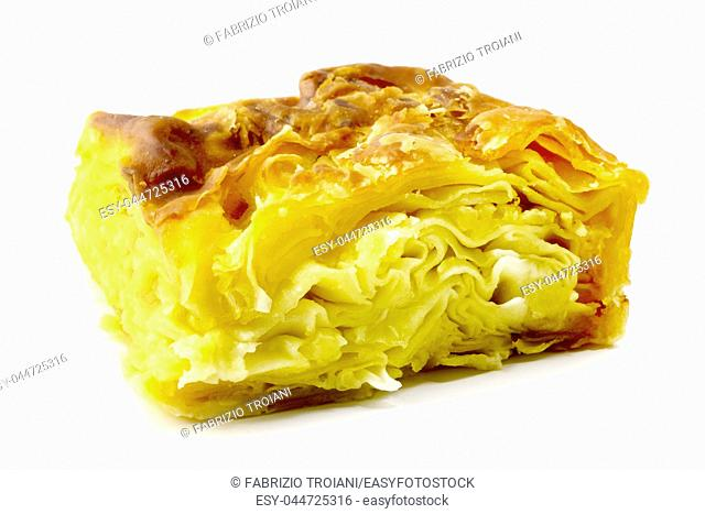 Slice of achma khachapuri on a white background