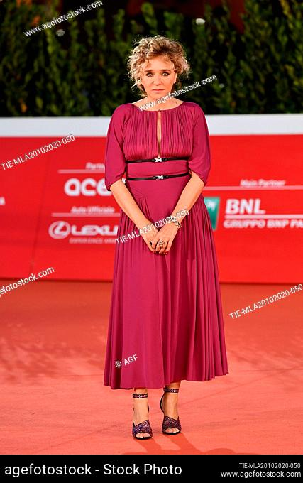 "Valeria Golino attends the red carpet of the movie """"Fortuna"""" during the 15th Rome Film Festival on October 19, 2020 in Rome, Italy"