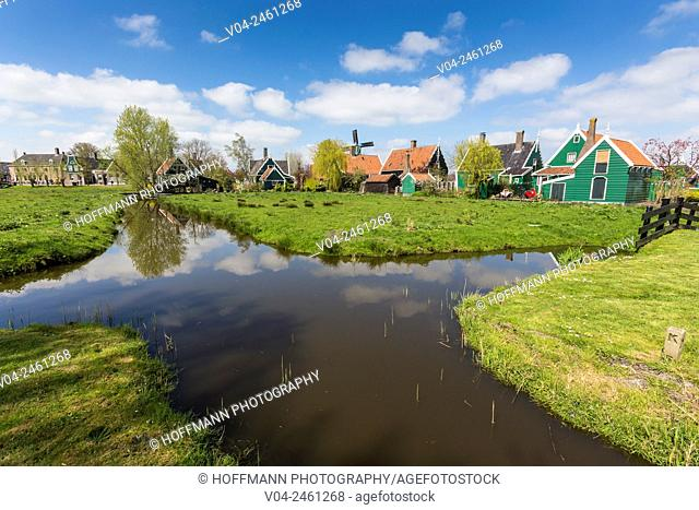 Traditional houses and little canals in the historic village of Zaanse Schans, The Netherlands, Europe