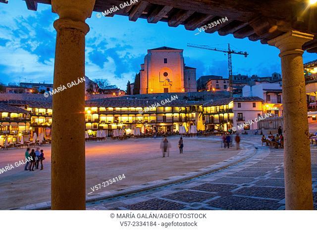 Main Square, night view. Chinchon, Madrid province, Spain