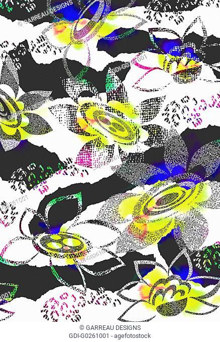 Flower design over zebra stripes