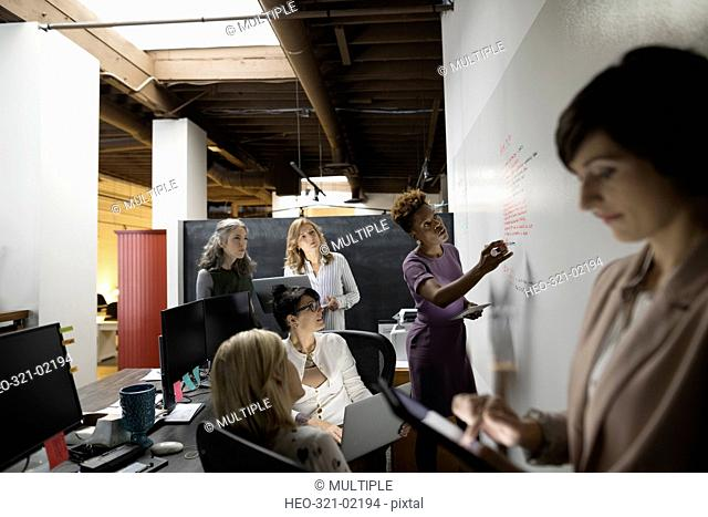 Creative businesswomen meeting brainstorming at whiteboard in office