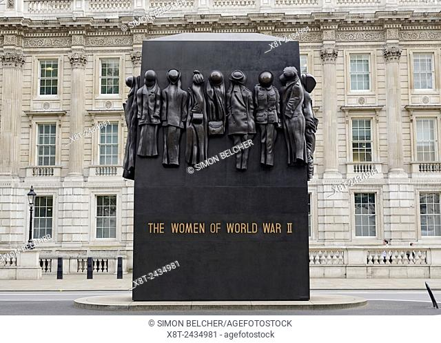 Monument to the Women of World War II, Whitehall, London, UK. . Unveiled in 2005 as a dedicated national monument to the work and sacrifices by the women of...