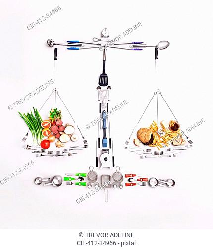 Still life concept healthy and unhealthy foods forming scale