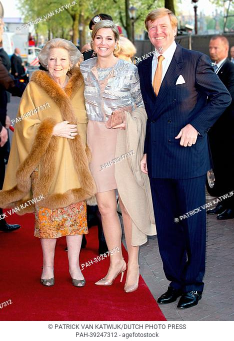 Princess Beatrix (L-R), Queen Maxima and King Willem-Alexander of The Netherlands attend the annual concert at the Amstel during the Liberation day...