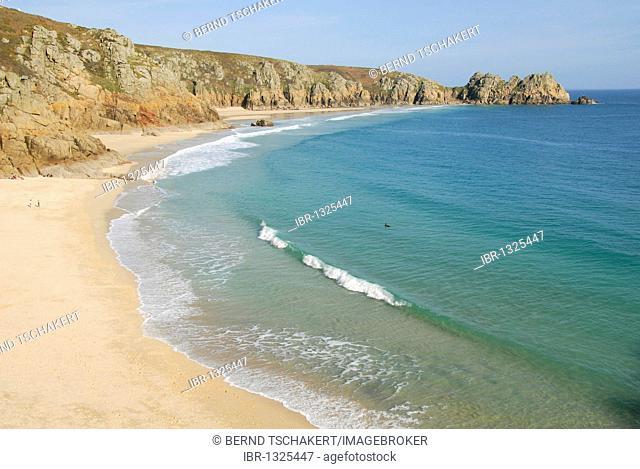 Porthcurno Beach, Pedn Vounder Beach, South Coast, Cornwall, England, United Kingdom, Europe