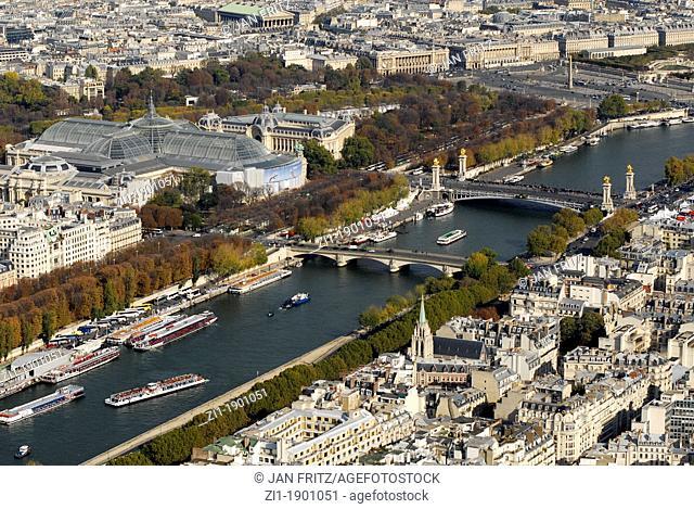 Aerial view of riverbank Seine, Paris