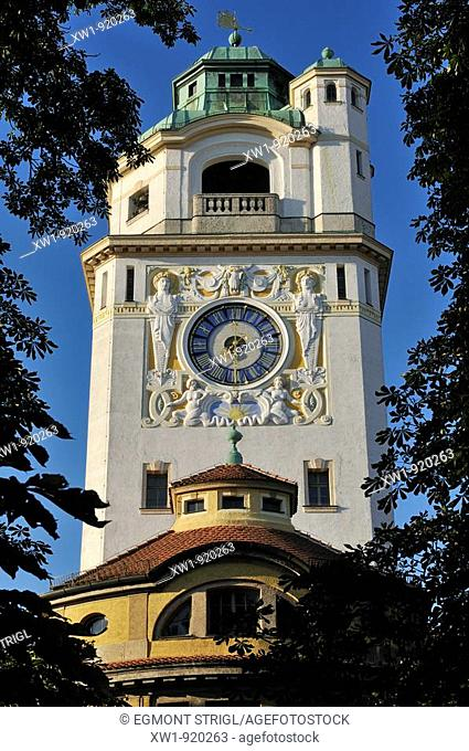 Art Deco clock tower of Müllersches Volksbad, a public swimming pool, Munich, München, Bavaria, Germany, Europe
