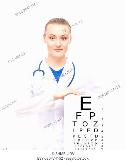 Beautiful woman with tablet and sight table on it on isolated background
