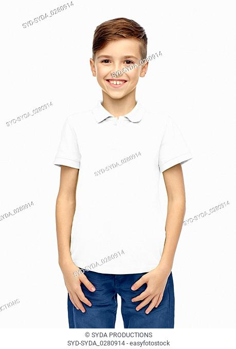 happy boy in white blank polo t-shirt