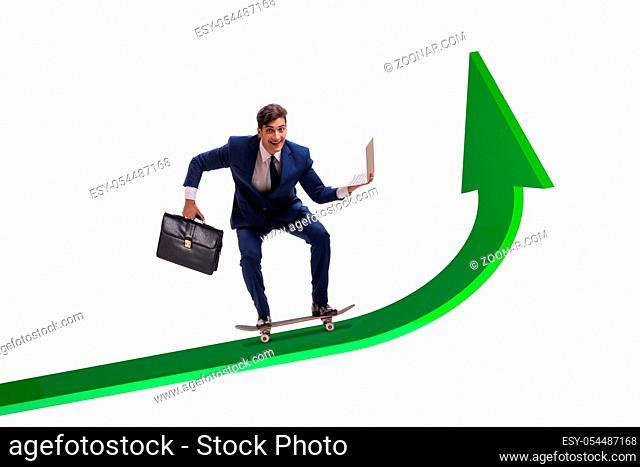 The businessman riding skateboard on financial graph