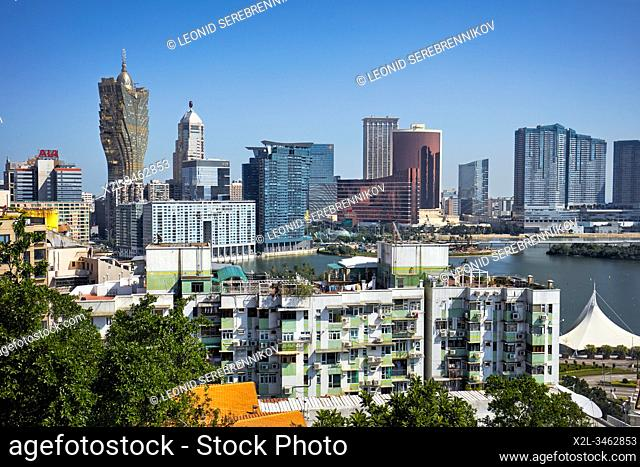 Macau skyline as seen from the Penha Hill. Macau, China