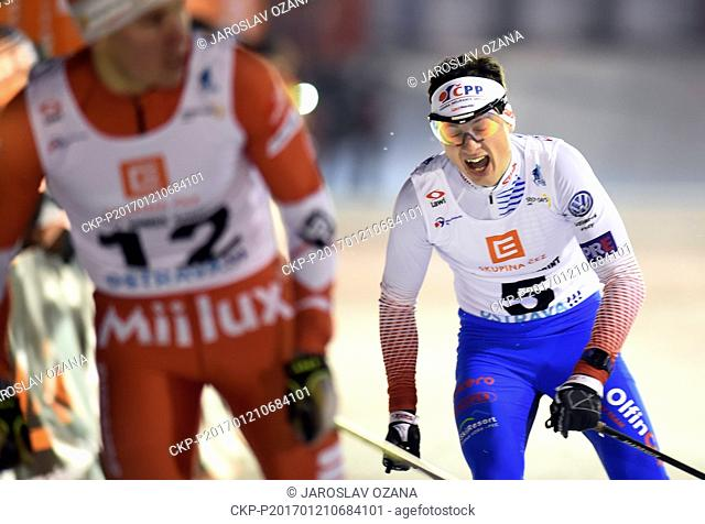 Czech cross-country skier Ondrej Dudek (right) and Lasse Paakkonen (left) from Finland in action during the CEZ City Cross Sprint 2017 in Ostrava