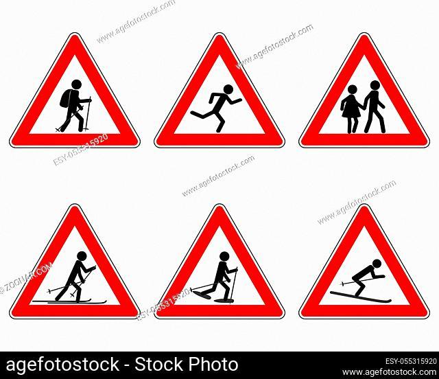 Verkehrsschild für verschiedene Sportarten - Traffic warning sign for various sports