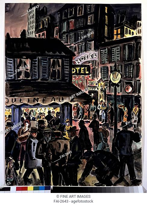 Hotel. Masereel, Frans (1889-1972). Pen, ink, watercolour on paper. Expressionism. 1925. State A. Pushkin Museum of Fine Arts, Moscow. 72,6x54