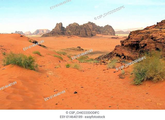 Mountains in the desert called Wadi Rum in Jordan