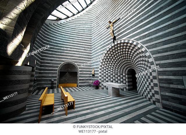 Interior of the Church of St John The Baptist Mogno, Fusio, municipality of Lavizzara, Val Maggiore,Ticino, Switzerland