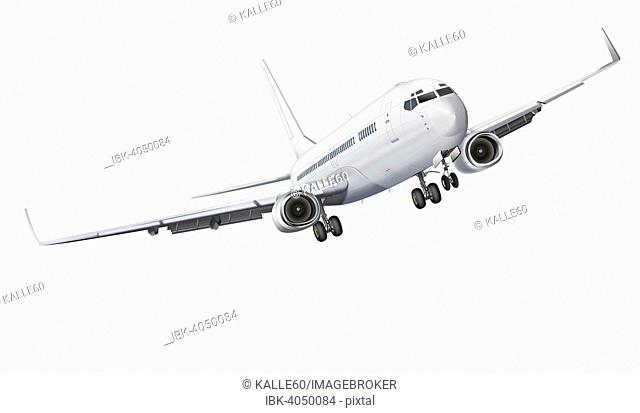 Commercial airplane with landing gear, illustration