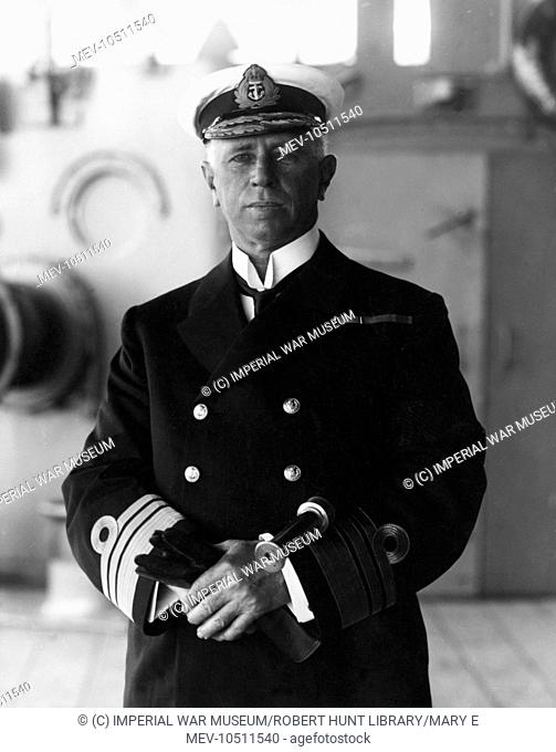 Sir George Astley Callaghan (1852-1920), Admiral of the Fleet, seen here in uniform on the deck of a ship. He served in the Boxer Rebellion and during the First...