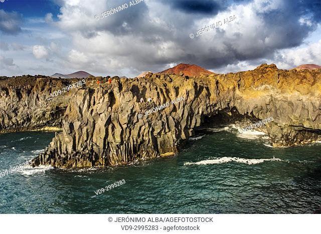 Volcanic coast, Los Hervideros. Lanzarote Island. Canary Islands Spain. Europe