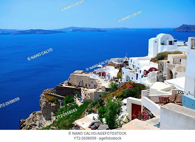 Hillside buildings in Oia, Santorini, Greek Islands, Greece