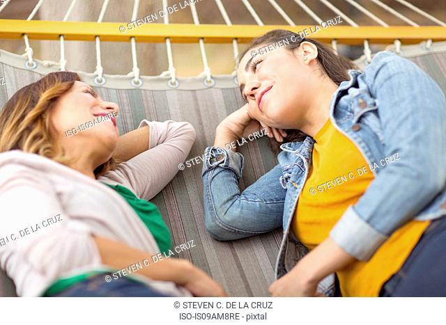 Women lying on hammock