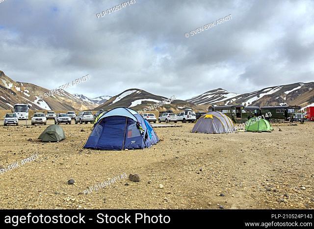 Tents at campsite in the Landmannalaugar valley, Fjallabak Nature Reserve, natural park near Hekla / Hecla in summer, Sudurland, Iceland