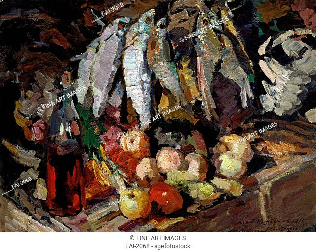 Fish, vine and fruits. Korovin, Konstantin Alexeyevich (1861-1939). Oil on canvas. Russian Painting, End of 19th - Early 20th cen. . 1916
