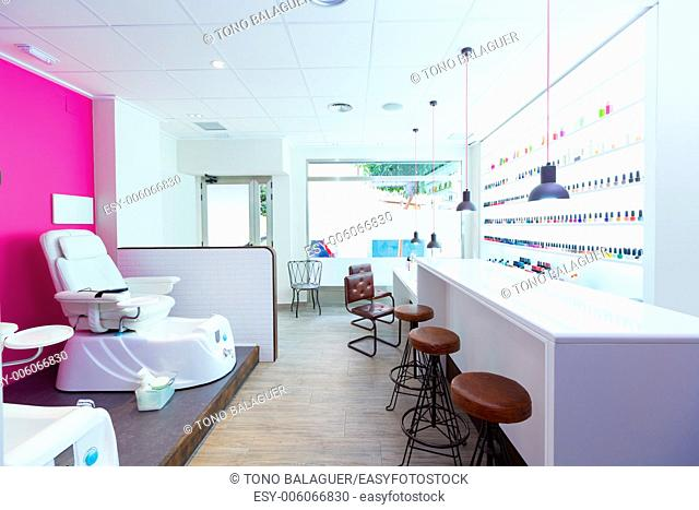 Nail saloon and pedicure chair spa modern with nail polish colorful in a row on white background