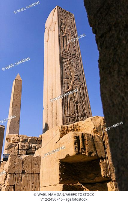 Temple of Karnak, Obelisk erected by Queen Hatshepsut, Luxor, Egypt